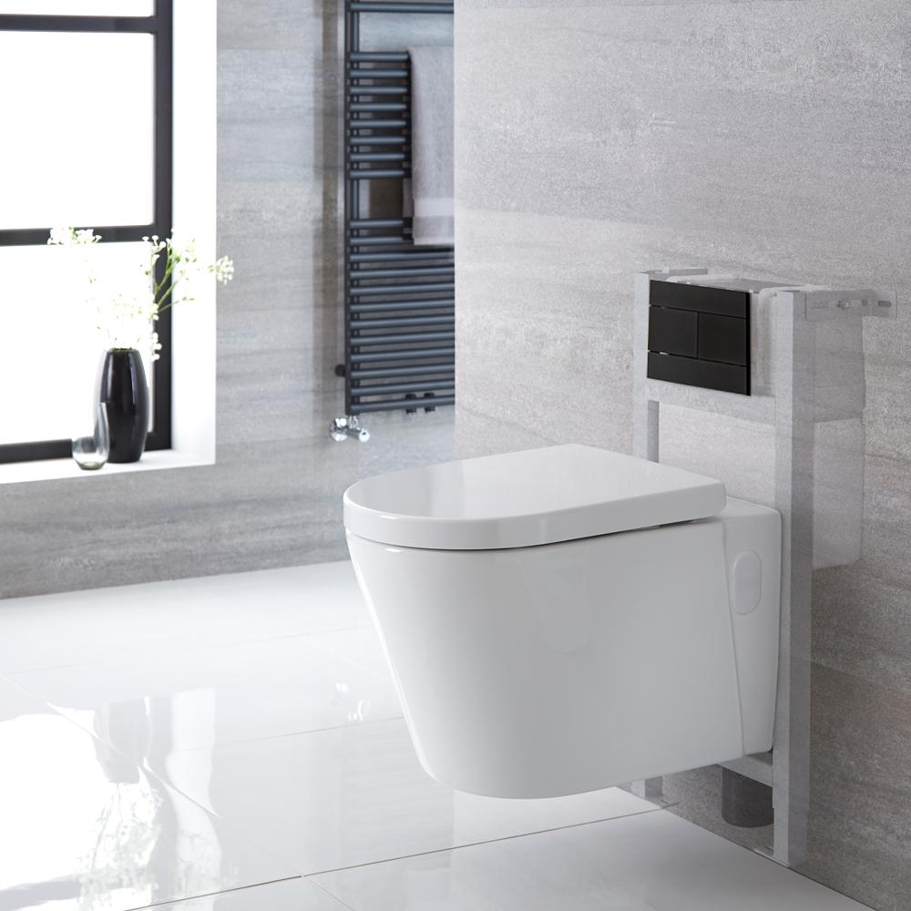 Sanitario Bagno WC Ovale Sospeso Completo Completo di Coprivaso, Telaio con Cassetta ad Incasso con Placca di Comando per WC A Doppio Pulsante -  Exton