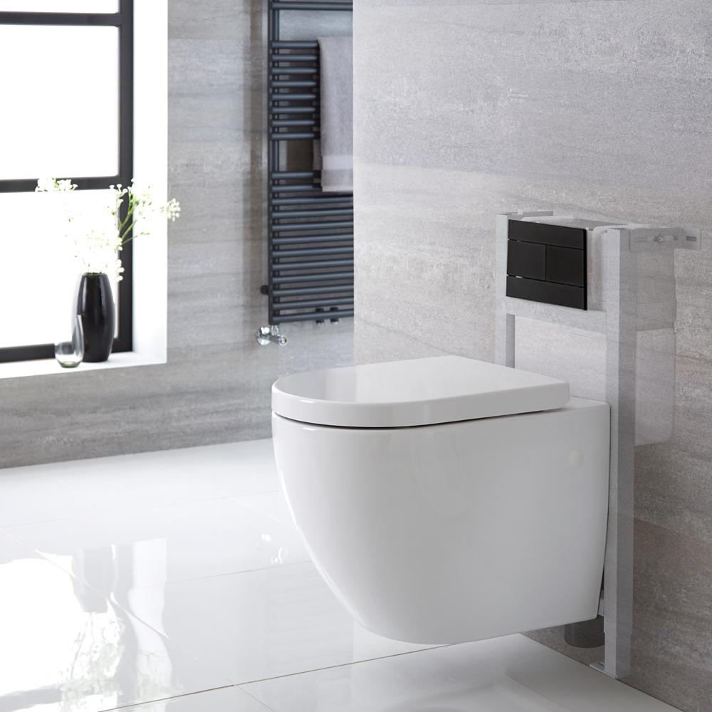 Sanitario Bagno WC Ovale Sospeso Rimless Completo di Coprivaso, Telaio con Cassetta ad Incasso con Placca di Comando per WC A Doppio Pulsante -  Ashbury